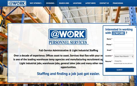 Screenshot of atwork.com - Light Industrial Jobs | Warehouse Temp Agencies - captured May 24, 2016