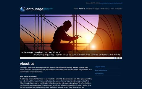 Screenshot of About Page entourageconstruction.co.uk - Construction recruitment agency based in south west London - Entourage Construction - captured Oct. 3, 2014