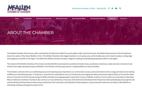 Screenshot of About Page mcallen.org - About The Chamber - McAllen Chamber of Commerce - captured Oct. 10, 2018