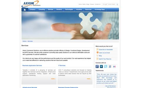 Screenshot of Services Page axiomcommerce.com - Services | Axiom Commerce Solutions - captured Oct. 27, 2014