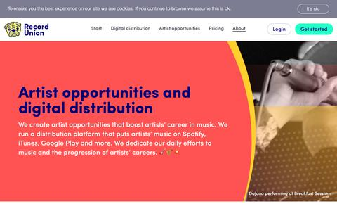Screenshot of About Page recordunion.com - About Us - Record Union - captured July 6, 2019