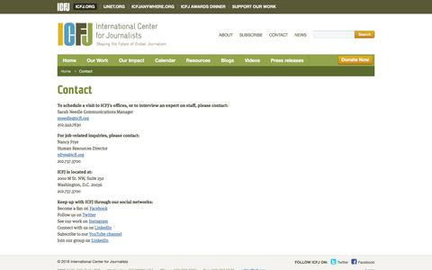 Screenshot of Contact Page icfj.org - Contact | ICFJ - International Center for Journalists - captured June 21, 2017