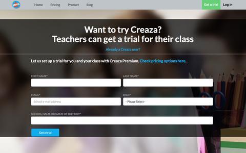 Screenshot of Trial Page creaza.com - Creaza Premium Trial - captured Feb. 8, 2017