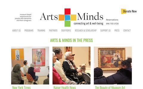 Screenshot of Press Page artsandminds.org - Press - Arts and Minds - captured Oct. 4, 2018
