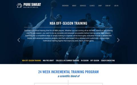 Screenshot of Services Page puresweatbasketball.com - Pure Sweat Basketball - captured Sept. 30, 2014
