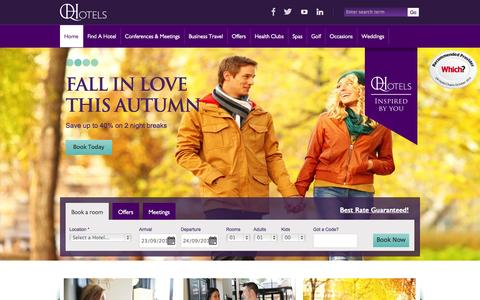 Screenshot of Home Page qhotels.co.uk - 4 Star Luxury Hotels - UK Conference, Meeting and Event Venues – QHotels - captured Sept. 19, 2014