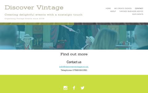 Screenshot of Contact Page discovervintage.co.uk - Contact - captured Aug. 7, 2018