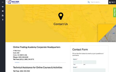Screenshot of Contact Page tradingacademy.com - Contact Us - Online Trading Academy - captured Oct. 26, 2014