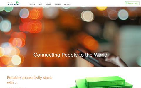 Screenshot of Home Page nomadix.com - Bandwidth Management Appliances & Access Gateways | Nomadix, Inc - captured Sept. 22, 2018
