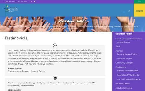 Screenshot of Testimonials Page cdhalton.ca - Testimonials   Community Development Halton - captured Dec. 15, 2018