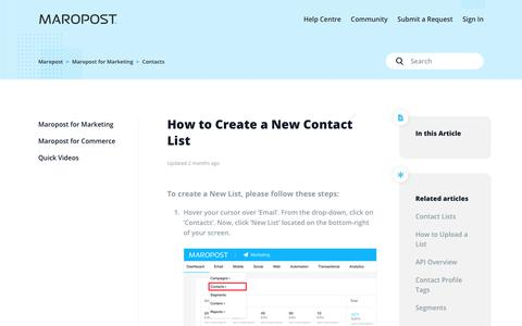 Screenshot of Support Page maropost.com - How to Create a New Contact List  – Maropost - captured July 1, 2019