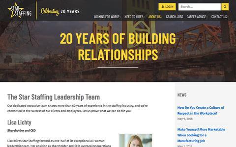 Screenshot of Team Page starhr.com - Leadership - Star Staffing - captured May 10, 2018