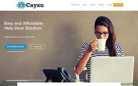 Screenshot of Home Page cayzu.com - Help Desk Ticket System | Customer Service Software | Cayzu - captured Oct. 30, 2017