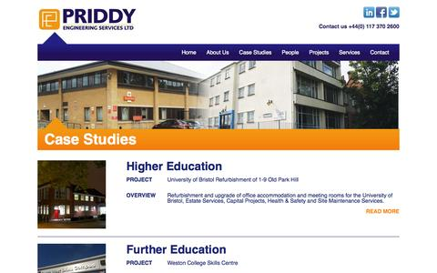 Screenshot of Case Studies Page priddyengineering.co.uk - Case Studies | Priddy Engineering - captured Oct. 3, 2014