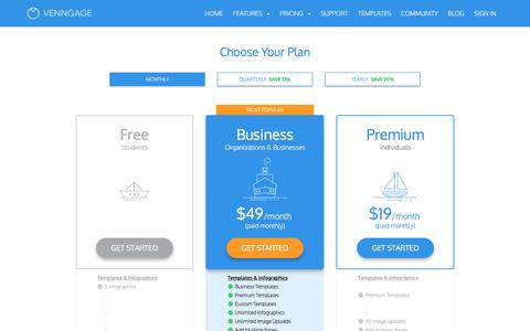 Screenshot of Pricing Page venngage.com - Free Infographic Maker - Venngage - captured Nov. 20, 2016