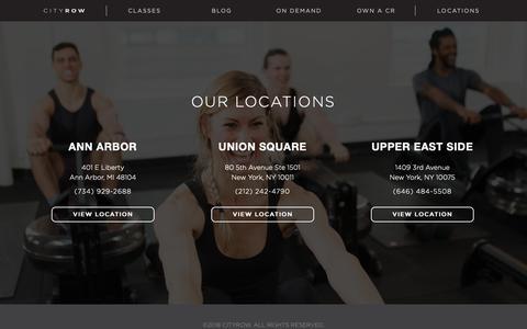 Screenshot of Locations Page cityrow.com - Locations   CITYROW - NYC - captured Nov. 4, 2018