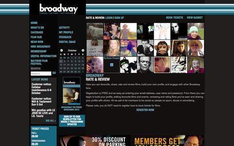 Screenshot of Signup Page broadway.org.uk - Broadway - Cinema | Cafebar | Nottingham - captured Oct. 5, 2014