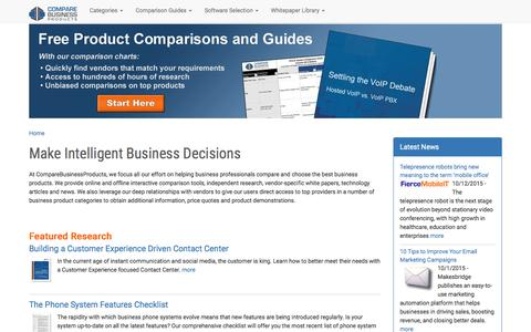 Screenshot of Home Page comparebusinessproducts.com - Business Technology Comparisons and Guides   Reviews, Comparisons and Buyer's Guides - captured Oct. 23, 2015