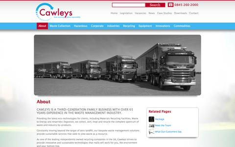 Screenshot of About Page cawleys.co.uk - Waste management from Cawleys, an award winning business - captured Jan. 26, 2016