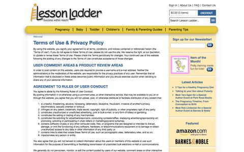 Screenshot of Privacy Page lessonladder.com - Terms of Use & Privacy Policy - captured Sept. 29, 2014