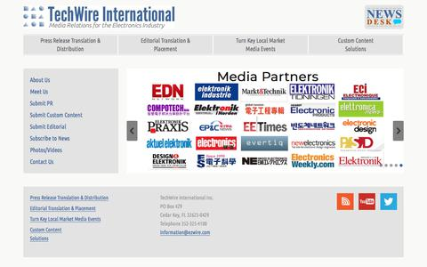 Screenshot of Home Page ezwire.com - TechWire International – Global Media Relations for the Electronics Industry - captured Sept. 25, 2018