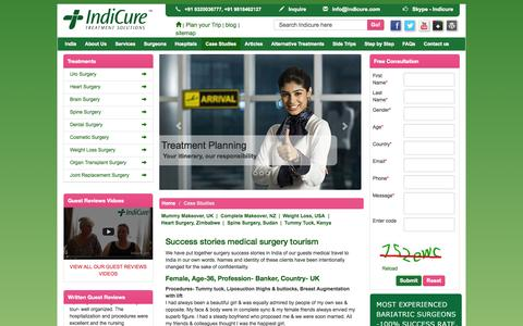 Screenshot of Case Studies Page indicure.com - Medical tourism abroad India affordable surgery success stories - captured Sept. 19, 2014