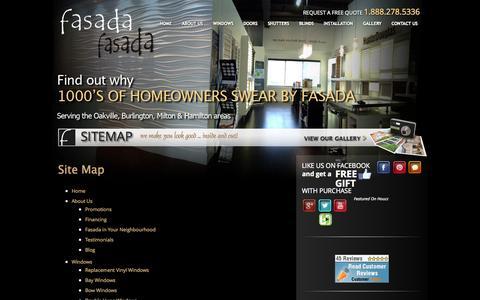 Screenshot of Site Map Page fasada.ca - Sitemap - captured Oct. 5, 2014