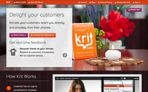 Screenshot of Home Page krit.com - Krit: Delight Your Customers - captured Oct. 6, 2014