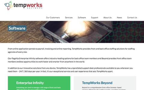 Screenshot of Products Page tempworks.com - TempWorks - Staffing / Recruiting Agency Software Solutions - captured Dec. 8, 2016