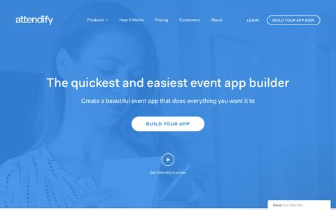 Screenshot of Home Page attendify.com - Mobile Event Apps for Conferences with Measurable ROI | Attendify - captured Nov. 24, 2016