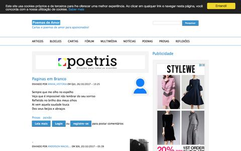 Screenshot of Home Page poemas-de-amor.net - Poemas de Amor   Cartas e poemas de amor para apaixonados! - captured Oct. 30, 2017