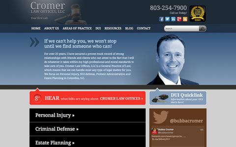 Screenshot of Home Page cromerlawoffices.com - DUI Lawyer Columbia SC - Cromer Law Offices, LLC - captured Oct. 3, 2014