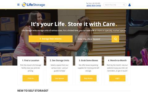 Screenshot of Home Page lifestorage.com - Life Storage - Rent a Self Storage Unit Near You - captured Feb. 8, 2018