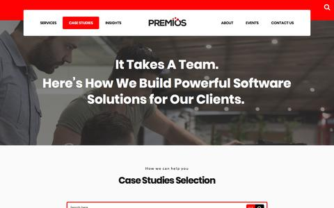 Screenshot of Case Studies Page premiosgroup.com - Case Studies | Premios - captured July 6, 2018