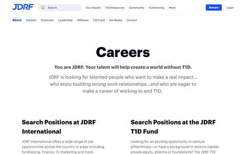 Screenshot of Jobs Page jdrf.org - Careers - JDRF - captured Nov. 2, 2018