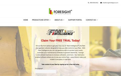 Screenshot of Trial Page foresightintelligence.com - Form - Free Trial | Foresight Intelligence - captured Nov. 6, 2018