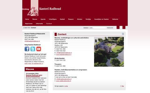 Screenshot of Contact Page kasteelradboud.nl - Kasteel Radboud Medemblik - Contact - captured Nov. 28, 2016