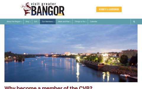 Screenshot of Signup Page visitbangormaine.com - Why become a member of the CVB? - Greater Bangor CVB - captured Sept. 19, 2017