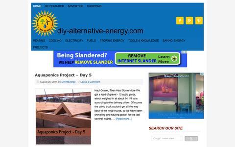 Screenshot of Home Page diy-alternative-energy.com - DIY Alternative Energy — Investing In Alternative Energy For Practical Living - captured Sept. 23, 2014