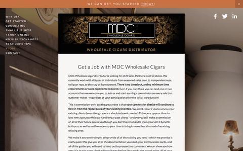 Screenshot of Jobs Page mdcwholesalecigars.com - Careers with MDC Wholesale Cigars Ń MDC Wholesale Cigars | Cigar Distributor | Wholesale Cigars Online - captured Dec. 20, 2015