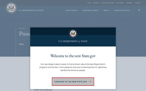 Screenshot of Press Page state.gov - Press - United States Department of State - captured May 19, 2019