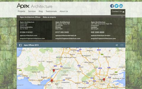 Screenshot of Contact Page apexarchitecture.com - Contact Us | Gloucestershire | Bristol | London | Apex Architecture - captured Feb. 6, 2016