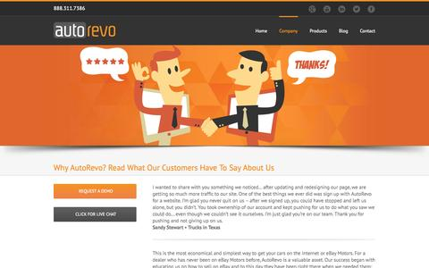 Screenshot of Testimonials Page autorevo.com - Why AutoRevo? Read What Our Customers Have To Say About Us - AutoRevo - captured Sept. 23, 2014