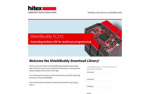 Screenshot of Landing Page hitex.com - ShieldBuddy TC275 Getting Started - captured Feb. 16, 2017