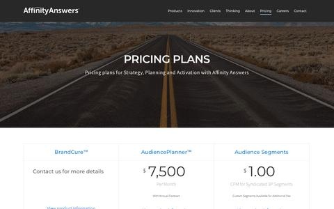 Screenshot of Pricing Page affinityanswers.com - Pricing - AffinityAnswers - captured July 29, 2018