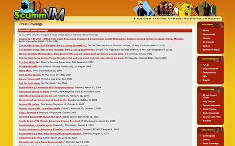 Screenshot of Press Page scummvm.org - ScummVM :: Press Coverage - captured Oct. 31, 2014