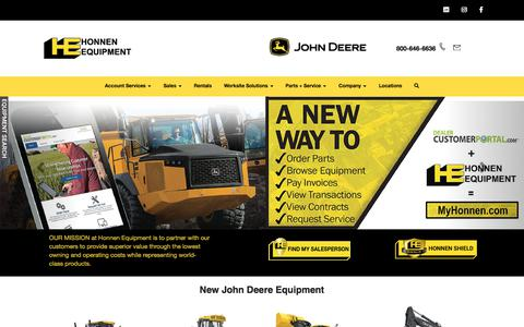 Screenshot of Home Page honnen.com - Honnen Equipment - captured Jan. 18, 2020