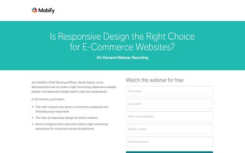 Screenshot of Landing Page mobify.com - Is Responsive Design the Right Choice for E-Commerce Websites? - captured Oct. 27, 2014