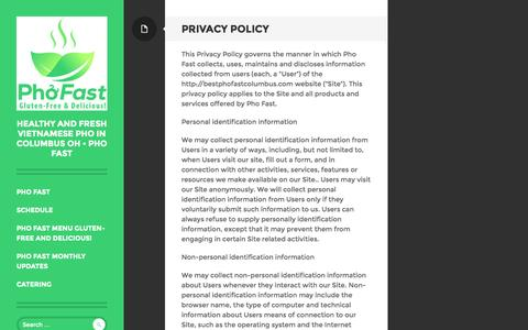 Screenshot of Privacy Page bestphofastcolumbus.com - Privacy Policy for Pho Fast in Columbus OH - captured Oct. 5, 2014