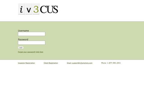Screenshot of Login Page iv3solutions.com - IV3 - captured Nov. 26, 2016